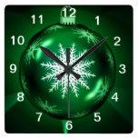 Green Christmas Snowflake Clock