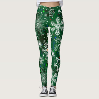 Green Christmas snowflake pattern leggings