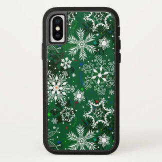 Green Christmas snowflake pattern ten tough xtreme iPhone X Case