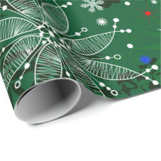 Green Christmas snowflake pattern wrapping paper