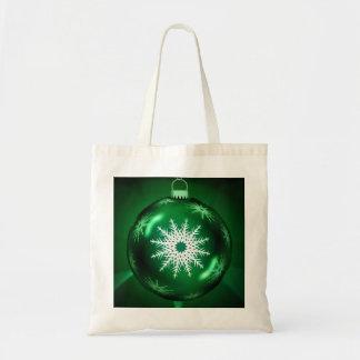 Green Christmas Snowflake Tote Bag