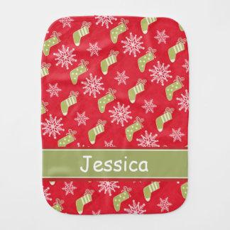 Green Christmas Stockings and Snowflakes Burp Cloth