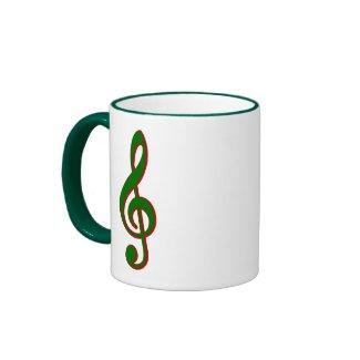 Green Christmas Treble Clef mug