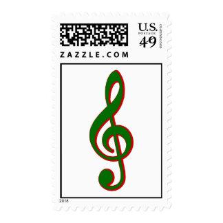 Green Christmas Treble Clef Postage Stamp