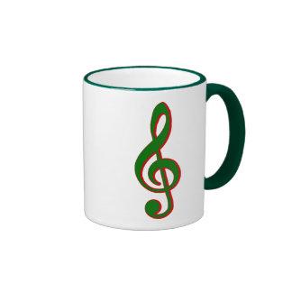 Green Christmas Treble Clef Ringer Mug