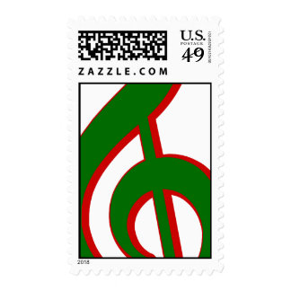Green Christmas Treble Clef Stamps