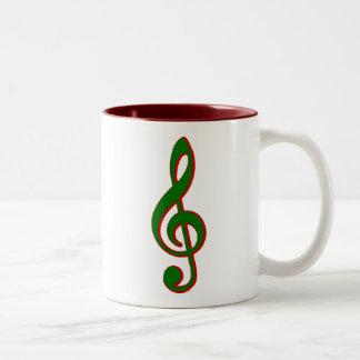 Green Christmas Treble Clef Two-Tone Coffee Mug