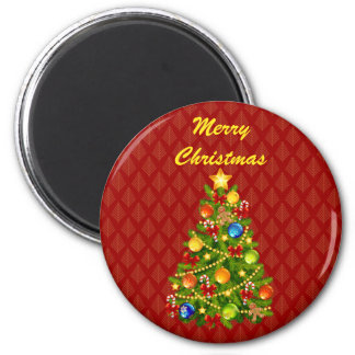 Green Christmas Tree 2 Inch Round Magnet