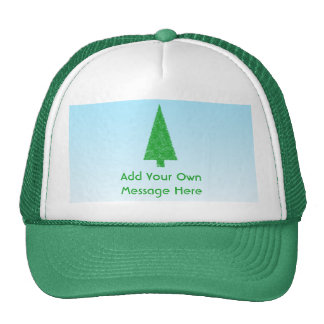 Green Christmas Tree. Blue and White. Custom Text Trucker Hat