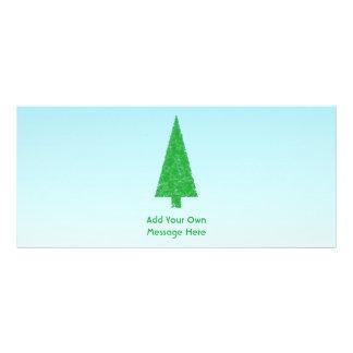 Green Christmas Tree Blue and White Custom Text Custom Rack Card
