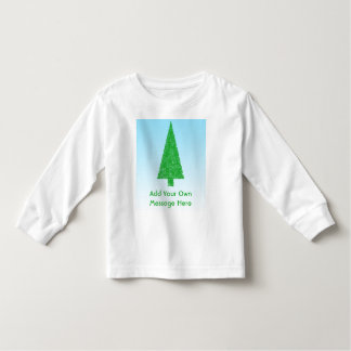 Green Christmas Tree. Blue and White. Custom Text Toddler T-shirt