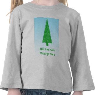 Green Christmas Tree. Blue and White. Custom Text Tee Shirt