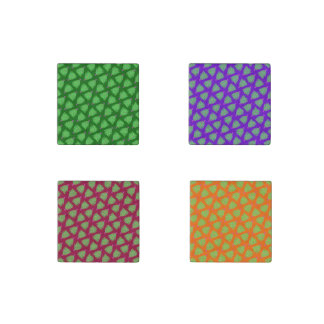 Green Christmas Tree Colorful Holiday Pattern Stone Magnet