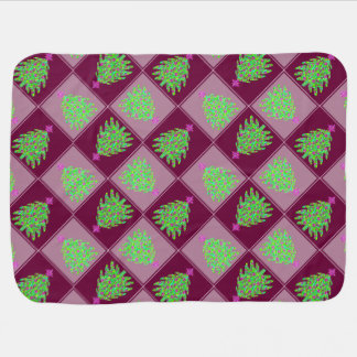 Green Christmas Tree Colorful Holiday Pattern Baby Blanket