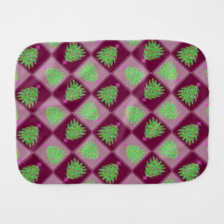 Green Christmas Tree Colorful Holiday Pattern Burp Cloths