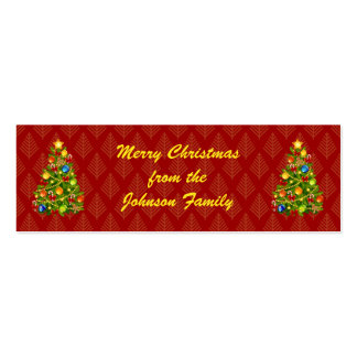 Green Christmas Tree Gift Tags Double-Sided Mini Business Cards (Pack Of 20)