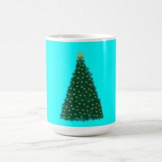 Green Christmas Tree, Gold Running Horses, Aqua Coffee Mug