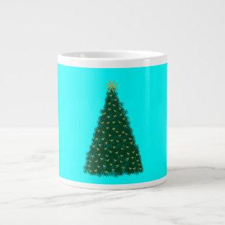 Green Christmas Tree, Gold Running Horses, Aqua Large Coffee Mug