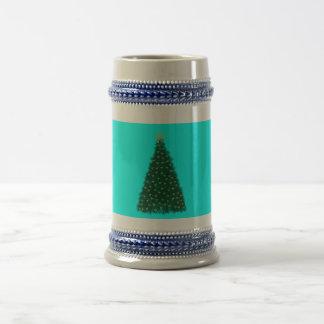 Green Christmas Tree, Gold Running Horses, Aqua 18 Oz Beer Stein