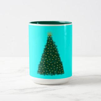 Green Christmas Tree, Gold Running Horses, Aqua Two-Tone Coffee Mug