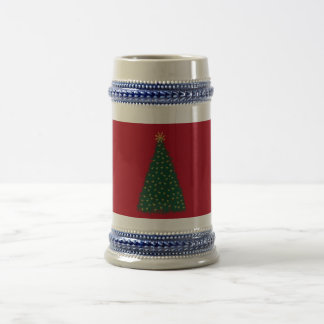 Green Christmas Tree, Gold Running Horses/Dark Red Beer Stein