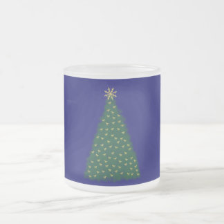 Green Christmas Tree, Gold Running Horses on Navy Frosted Glass Coffee Mug