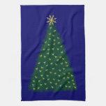 Green Christmas Tree, Gold Running Horses on Navy Hand Towel