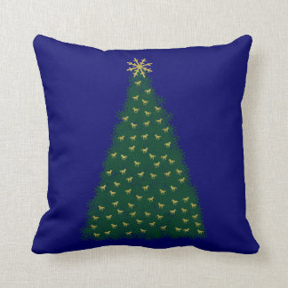 Green Christmas Tree, Gold Running Horses on Navy Throw Pillow