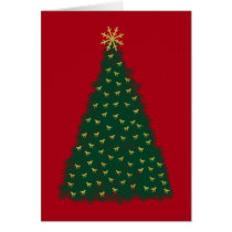 Green Christmas Tree, Gold Running Horses on Red Card