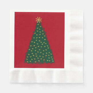 Green Christmas Tree, Gold Running Horses on Red Coined Luncheon Napkin