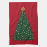 Green Christmas Tree, Gold Running Horses on Red Hand Towels