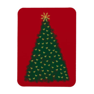 Green Christmas Tree, Gold Running Horses on Red Rectangle Magnet