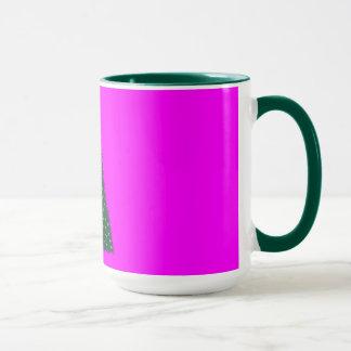 Green Christmas Tree, Gold Running Horses, Pink Mug