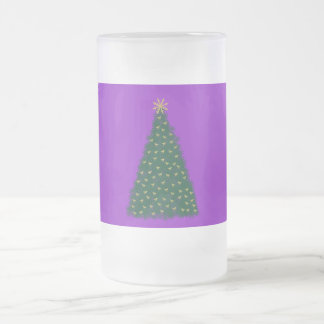 Green Christmas Tree, Gold Running Horses, Purple Frosted Glass Beer Mug