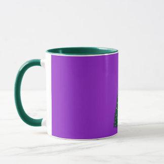 Green Christmas Tree, Gold Running Horses, Purple Mug
