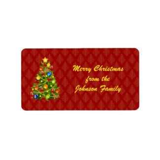 Green Christmas Tree Label