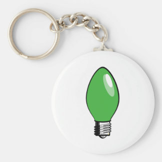 Green Christmas Tree Light Basic Round Button Keychain