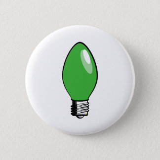 Green Christmas Tree Light Pinback Button