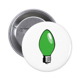 Green Christmas Tree Light Pinback Button