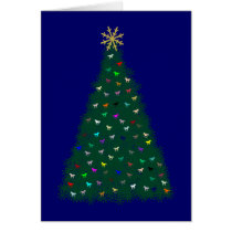Green Christmas Tree, Multicolor Horses, Navy Blue Card