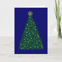 Green Christmas Tree, Multicolor Horses, Navy Blue Holiday Card