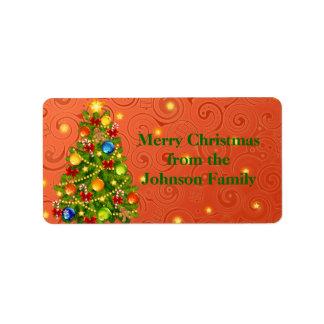 Green Christmas Tree on orange xmas pattern Address Label