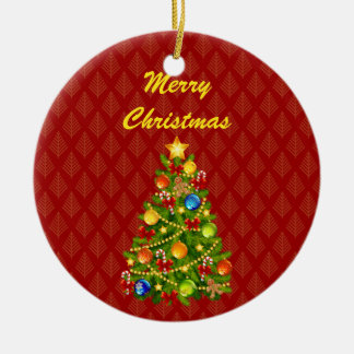 Green Christmas Tree Double-Sided Ceramic Round Christmas Ornament