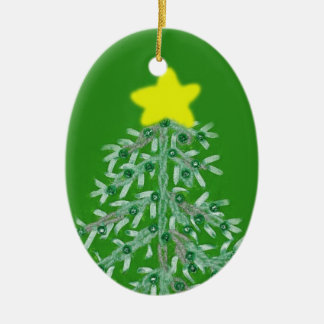 Green Christmas Tree Oval Ornament