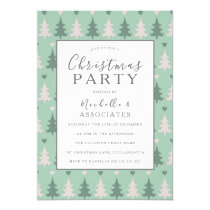 Green Christmas Tree Pattern Christmas Party Invitation