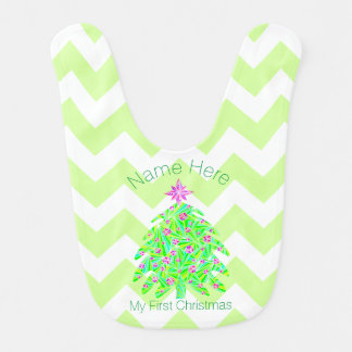 Green Christmas Tree Personalized My 1st Christmas Baby Bib