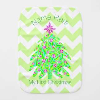 Green Christmas Tree Personalized My 1st Christmas Burp Cloth
