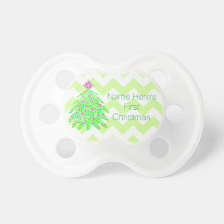 Green Christmas Tree Personalized My 1st Christmas Pacifier