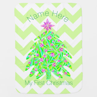 Green Christmas Tree Personalized My 1st Christmas Swaddle Blanket