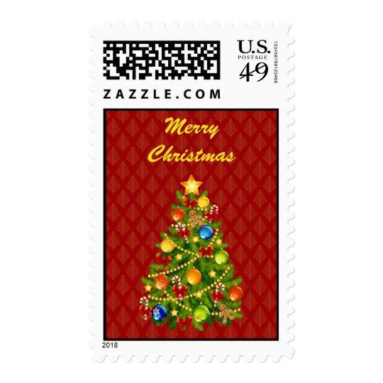 Green Christmas Tree Postage